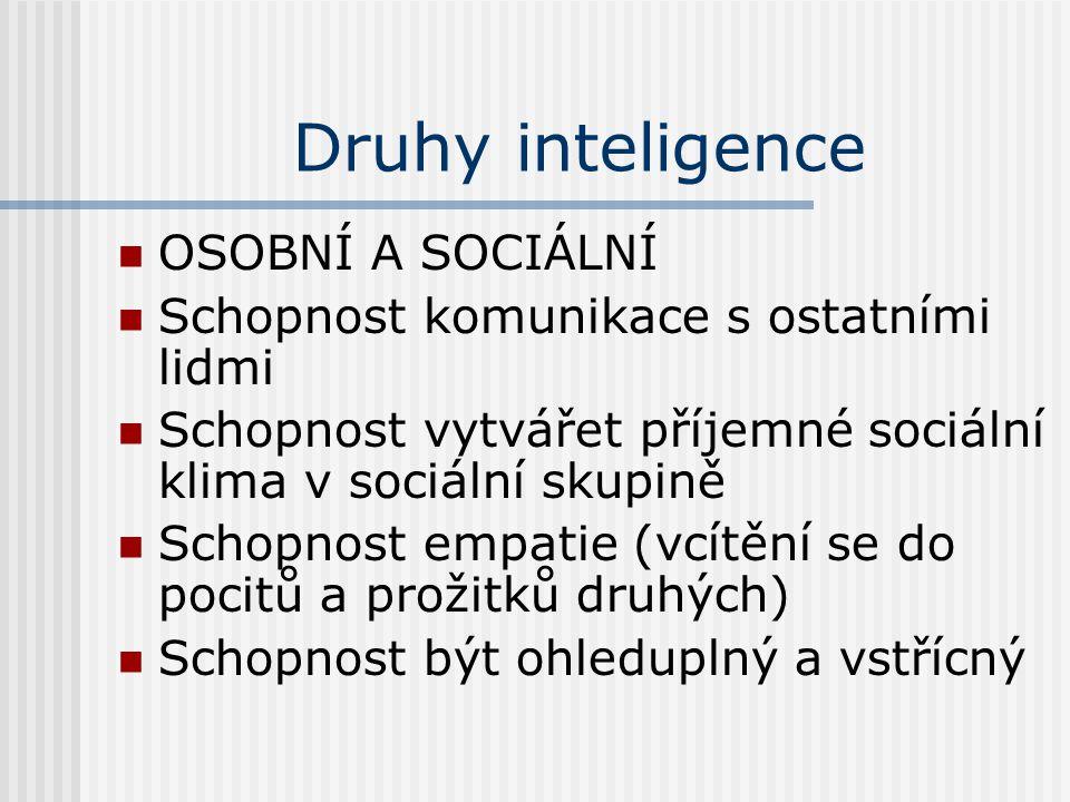 Druhy inteligence OSOBNÍ A SOCIÁLNÍ Schopnost komunikace s ostatními lidmi Schopnost vytvářet příjemné sociální klima v sociální skupině Schopnost emp