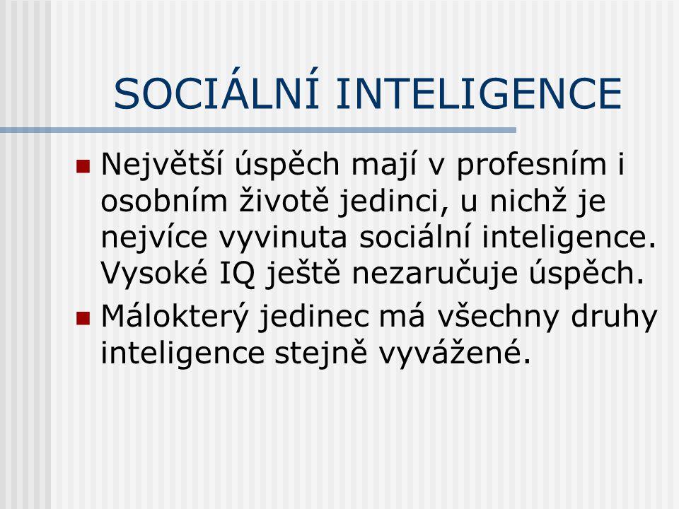 SOCIÁLNÍ INTELIGENCE Největší úspěch mají v profesním i osobním životě jedinci, u nichž je nejvíce vyvinuta sociální inteligence. Vysoké IQ ještě neza