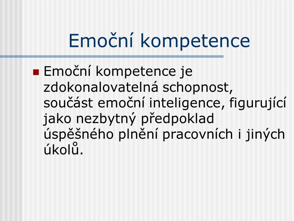 Emoční kompetence Emoční kompetence je zdokonalovatelná schopnost, součást emoční inteligence, figurující jako nezbytný předpoklad úspěšného plnění pr
