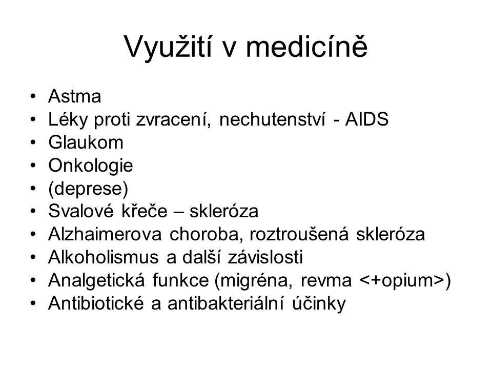 Využití v medicíně Astma Léky proti zvracení, nechutenství - AIDS Glaukom Onkologie (deprese) Svalové křeče – skleróza Alzhaimerova choroba, roztrouše