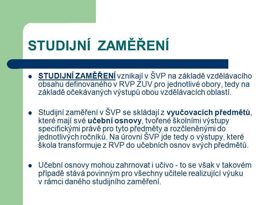 STUDIJNÍ ZAMĚŘENÍ STUDIJNÍ ZAMĚŘENÍ vznikají v ŠVP na základě vzdělávacího obsahu definovaného v RVP ZUV pro jednotlivé obory, tedy na základě očekáva