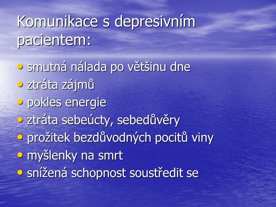Komunikace s depresivním pacientem: smutná nálada po většinu dne smutná nálada po většinu dne ztráta zájmů ztráta zájmů pokles energie pokles energie