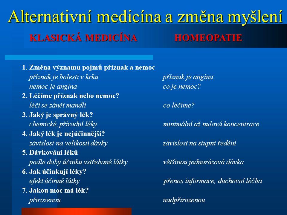 Alternativní medicína a změna myšlení Alternativní medicína a změna myšlení 1. Změna významu pojmů příznak a nemoc příznak je bolesti v krku příznak j