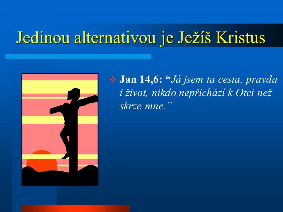 Jedinou alternativou je Ježíš Kristus Jedinou alternativou je Ježíš Kristus  Jan 14,6: Já jsem ta cesta, pravda i život, nikdo nepřichází k Otci než skrze mne.