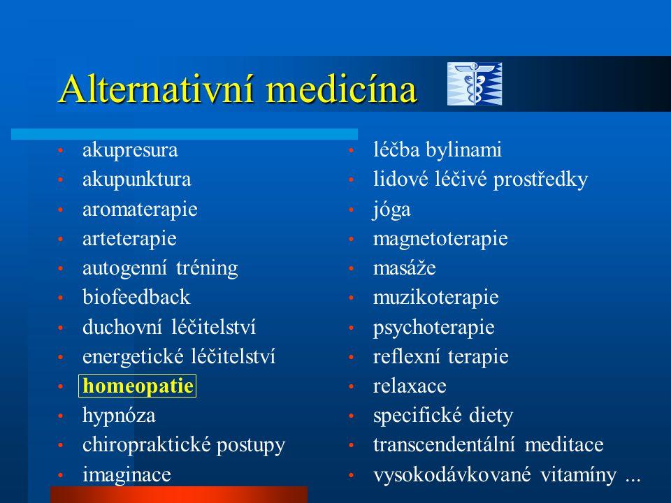 Alternativní medicína léčba bylinami lidové léčivé prostředky jóga magnetoterapie masáže muzikoterapie psychoterapie reflexní terapie relaxace specifické diety transcendentální meditace vysokodávkované vitamíny...