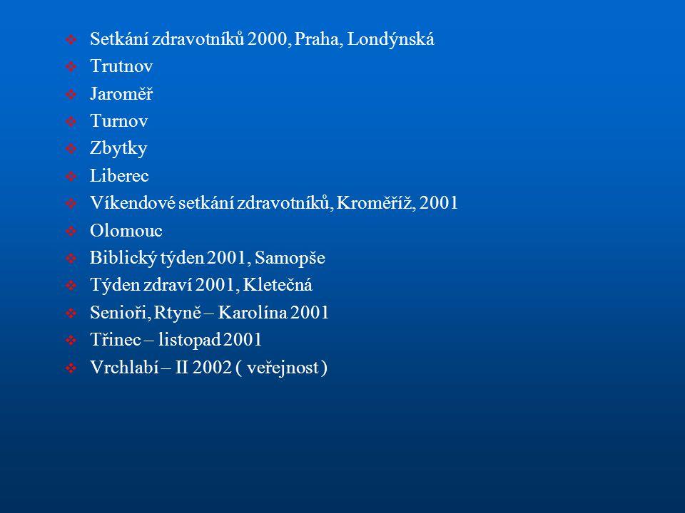  Setkání zdravotníků 2000, Praha, Londýnská  Trutnov  Jaroměř  Turnov  Zbytky  Liberec  Víkendové setkání zdravotníků, Kroměříž, 2001  Olomouc
