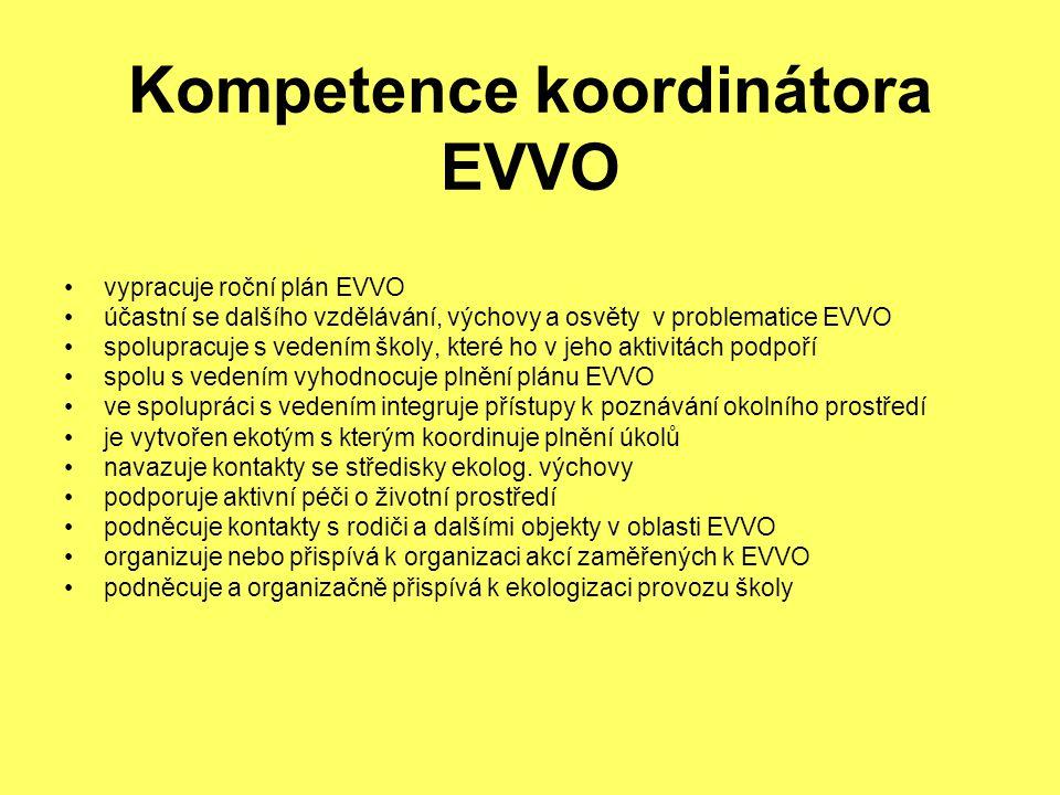 Kompetence koordinátora EVVO vypracuje roční plán EVVO účastní se dalšího vzdělávání, výchovy a osvěty v problematice EVVO spolupracuje s vedením školy, které ho v jeho aktivitách podpoří spolu s vedením vyhodnocuje plnění plánu EVVO ve spolupráci s vedením integruje přístupy k poznávání okolního prostředí je vytvořen ekotým s kterým koordinuje plnění úkolů navazuje kontakty se středisky ekolog.