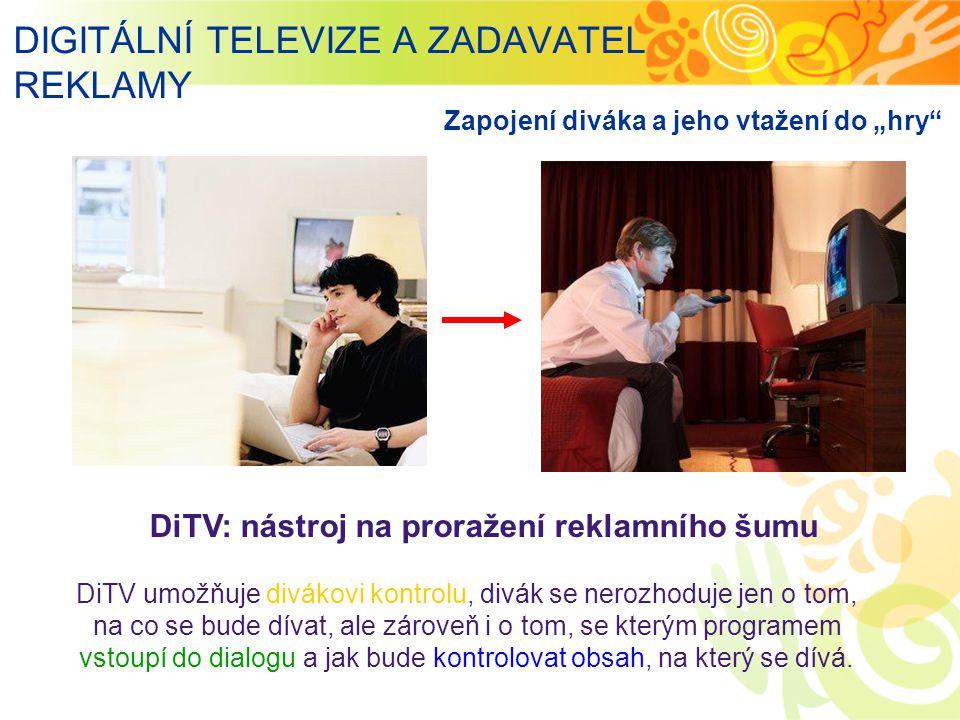 """DIGITÁLNÍ TELEVIZE A ZADAVATEL REKLAMY DiTV: nástroj na proražení reklamního šumu Zapojení diváka a jeho vtažení do """"hry DiTV umožňuje divákovi kontrolu, divák se nerozhoduje jen o tom, na co se bude dívat, ale zároveň i o tom, se kterým programem vstoupí do dialogu a jak bude kontrolovat obsah, na který se dívá."""