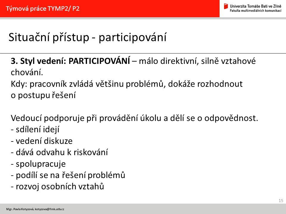 15 Mgr. Pavla Kotyzová, kotyzova@fmk.utb.cz Situační přístup - participování Týmová práce TYMP2/ P2 3. Styl vedení: PARTICIPOVÁNÍ – málo direktivní, s