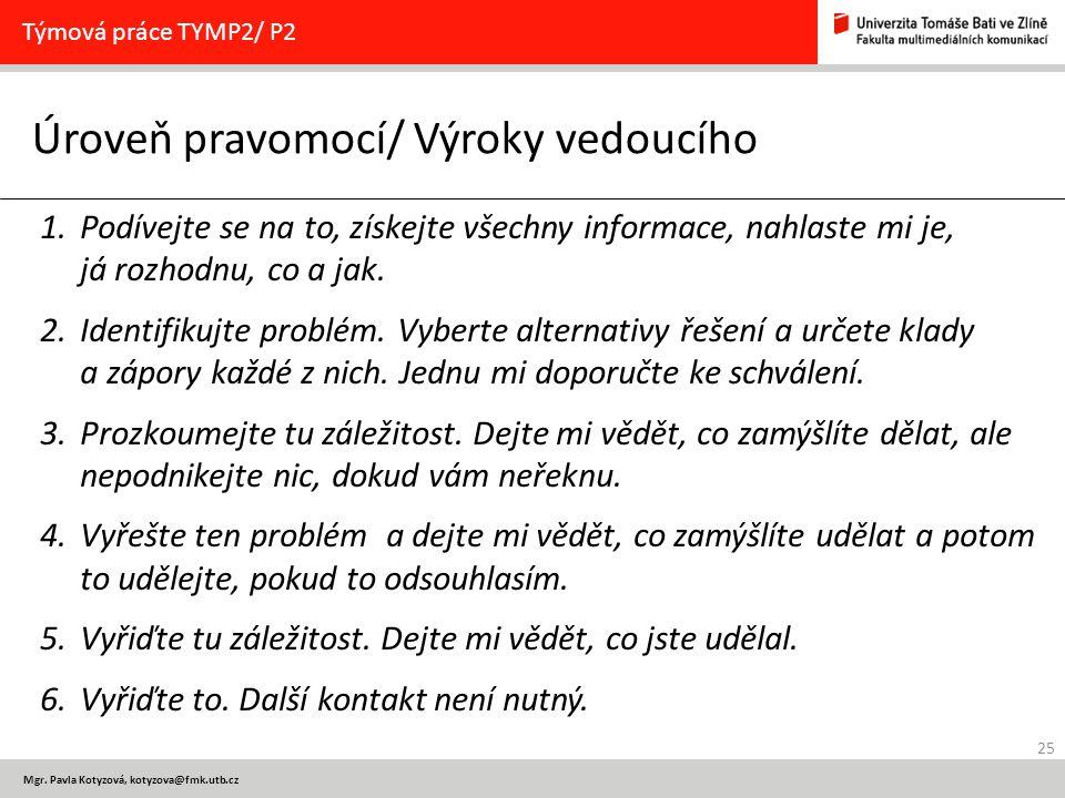 25 Mgr. Pavla Kotyzová, kotyzova@fmk.utb.cz Úroveň pravomocí/ Výroky vedoucího Týmová práce TYMP2/ P2 1.Podívejte se na to, získejte všechny informace