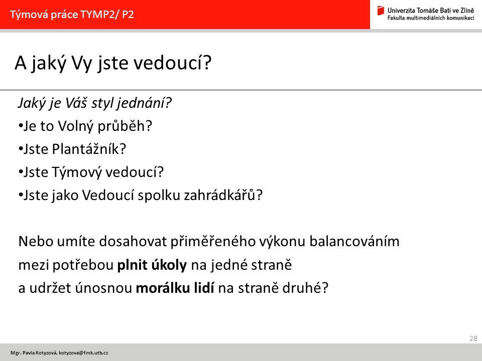28 Mgr. Pavla Kotyzová, kotyzova@fmk.utb.cz A jaký Vy jste vedoucí? Týmová práce TYMP2/ P2 Jaký je Váš styl jednání? Je to Volný průběh? Jste Plantážn