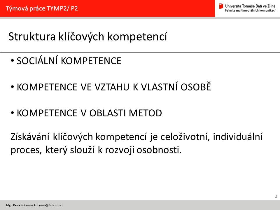 4 Mgr. Pavla Kotyzová, kotyzova@fmk.utb.cz Struktura klíčových kompetencí Týmová práce TYMP2/ P2 SOCIÁLNÍ KOMPETENCE KOMPETENCE VE VZTAHU K VLASTNÍ OS