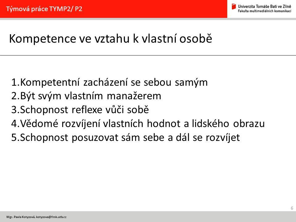 6 Mgr. Pavla Kotyzová, kotyzova@fmk.utb.cz Kompetence ve vztahu k vlastní osobě Týmová práce TYMP2/ P2 1.Kompetentní zacházení se sebou samým 2.Být sv