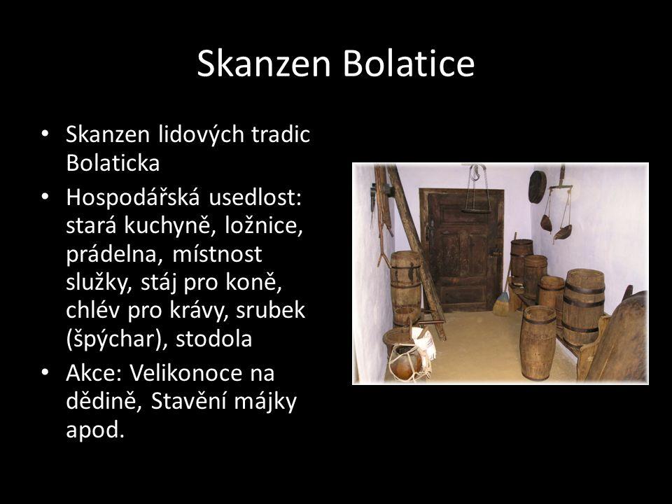 Skanzen Bolatice Skanzen lidových tradic Bolaticka Hospodářská usedlost: stará kuchyně, ložnice, prádelna, místnost služky, stáj pro koně, chlév pro k