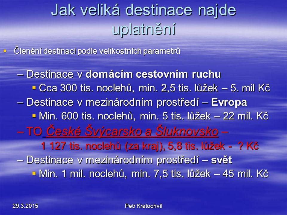 Jak veliká destinace najde uplatnění  Členění destinací podle velikostních parametrů –Destinace v domácím cestovním ruchu  Cca 300 tis. noclehů, min