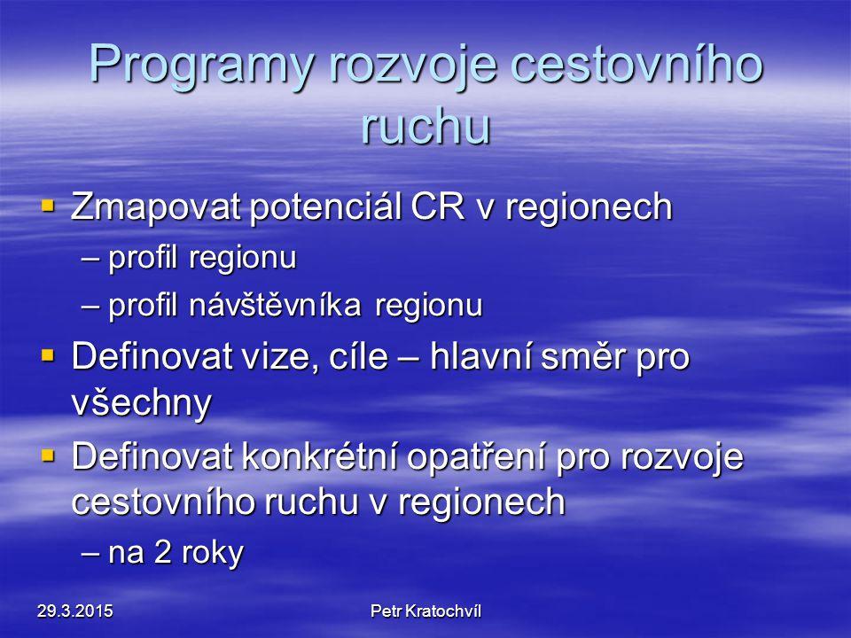 Programy rozvoje cestovního ruchu 29.3.2015Petr Kratochvíl