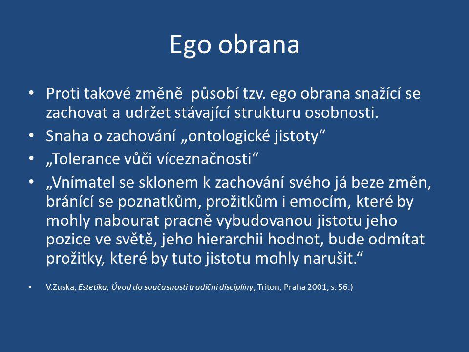 """Ego obrana Proti takové změně působí tzv. ego obrana snažící se zachovat a udržet stávající strukturu osobnosti. Snaha o zachování """"ontologické jistot"""