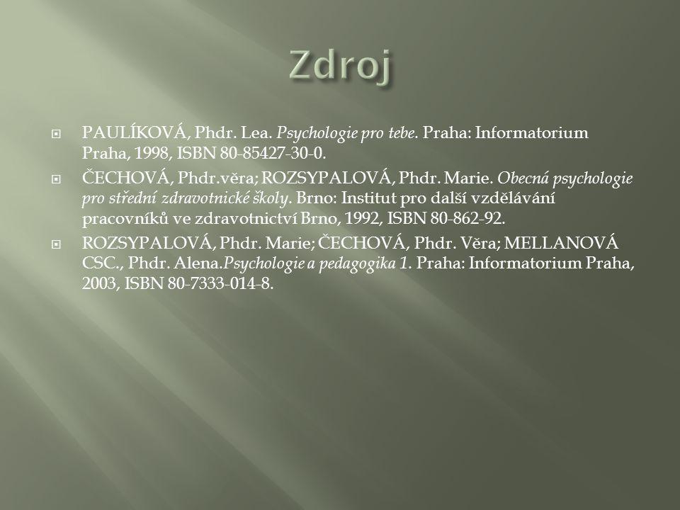  PAULÍKOVÁ, Phdr. Lea. Psychologie pro tebe. Praha: Informatorium Praha, 1998, ISBN 80-85427-30-0.  ČECHOVÁ, Phdr.věra; ROZSYPALOVÁ, Phdr. Marie. Ob