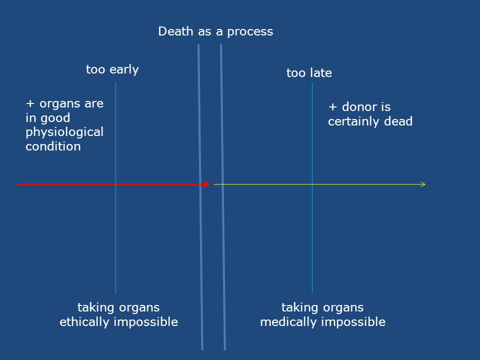 Death as a process too early too late taking organs ethically impossible taking organs medically impossible + donor is certainly dead + organs are in