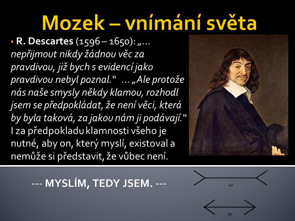 """R. Descartes (1596 – 1650): """"… nepřijmout nikdy žádnou věc za pravdivou, již bych s evidencí jako pravdivou nebyl poznal."""" … """"Ale protože nás naše smy"""