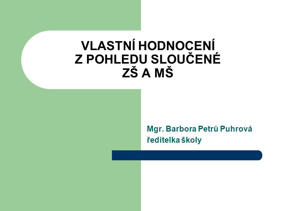 VLASTNÍ HODNOCENÍ Z POHLEDU SLOUČENÉ ZŠ A MŠ Mgr. Barbora Petrů Puhrová ředitelka školy