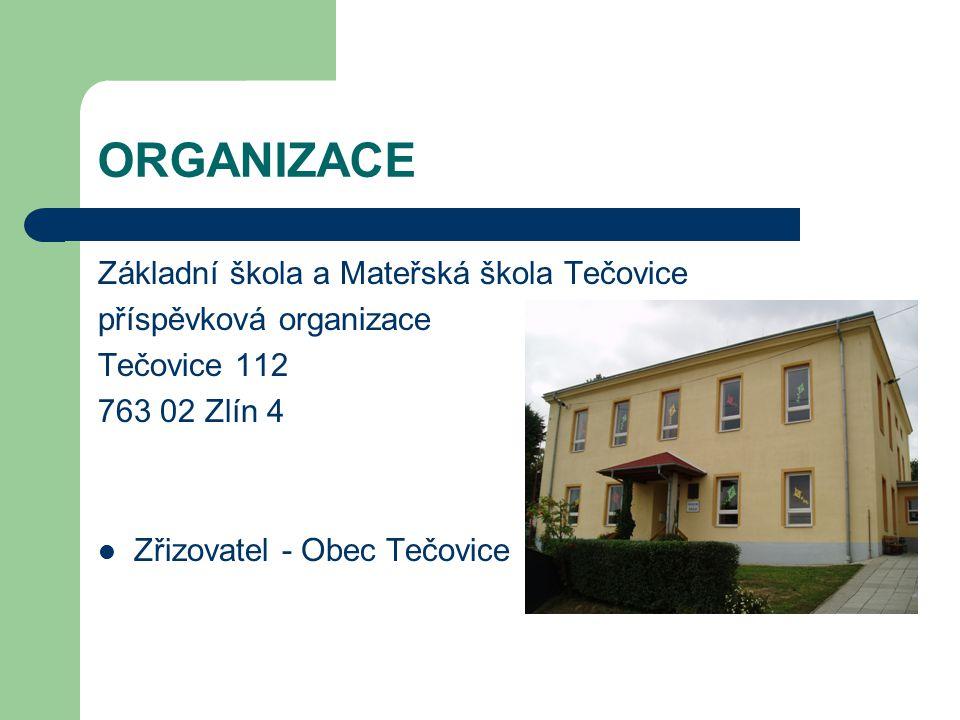 ORGANIZACE Základní škola a Mateřská škola Tečovice příspěvková organizace Tečovice 112 763 02 Zlín 4 Zřizovatel - Obec Tečovice