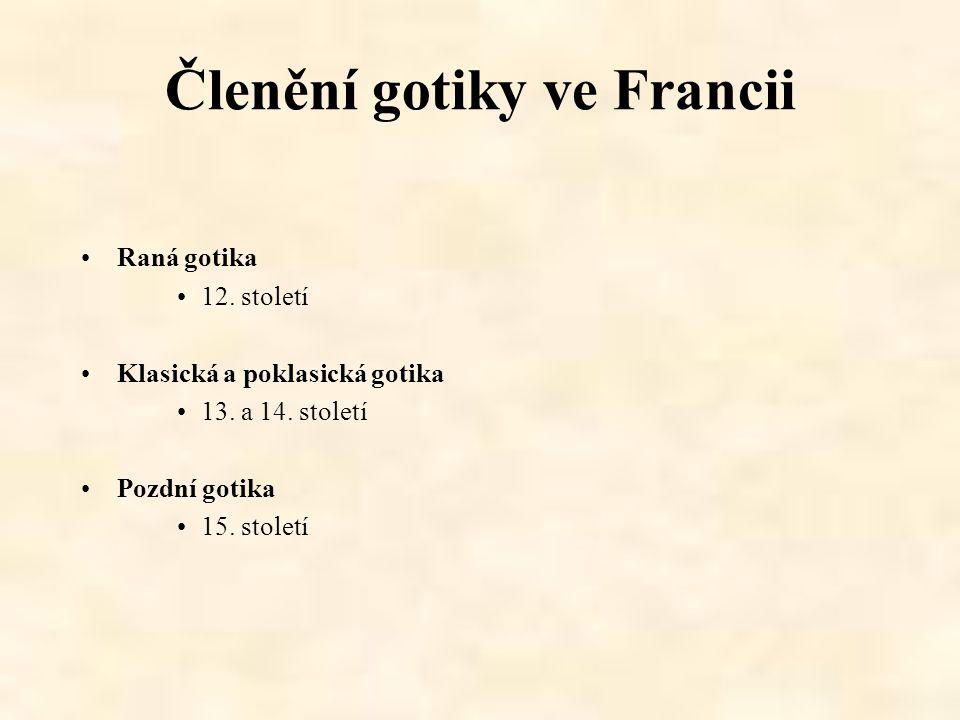 Členění gotiky ve Francii Raná gotika 12. století Klasická a poklasická gotika 13. a 14. století Pozdní gotika 15. století