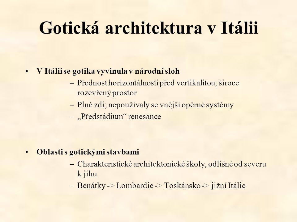 Gotická architektura v Itálii V Itálii se gotika vyvinula v národní sloh –Přednost horizontálnosti před vertikalitou; široce rozevřený prostor –Plné z