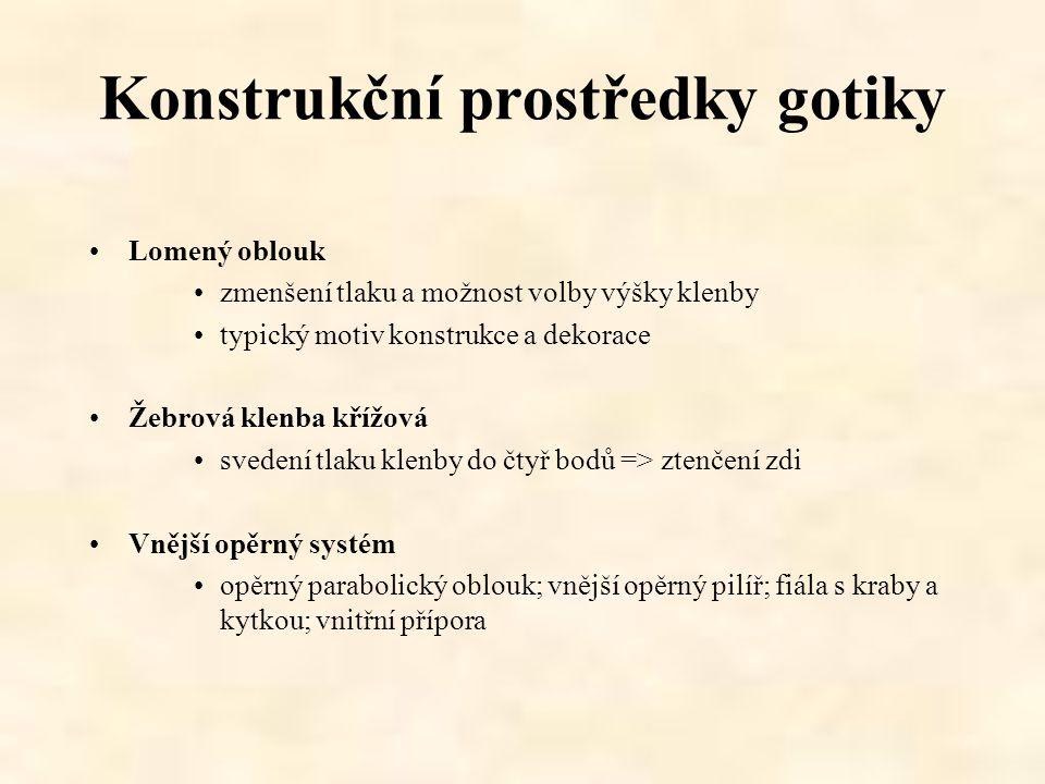 Konstrukční prostředky gotiky Lomený oblouk zmenšení tlaku a možnost volby výšky klenby typický motiv konstrukce a dekorace Žebrová klenba křížová sve