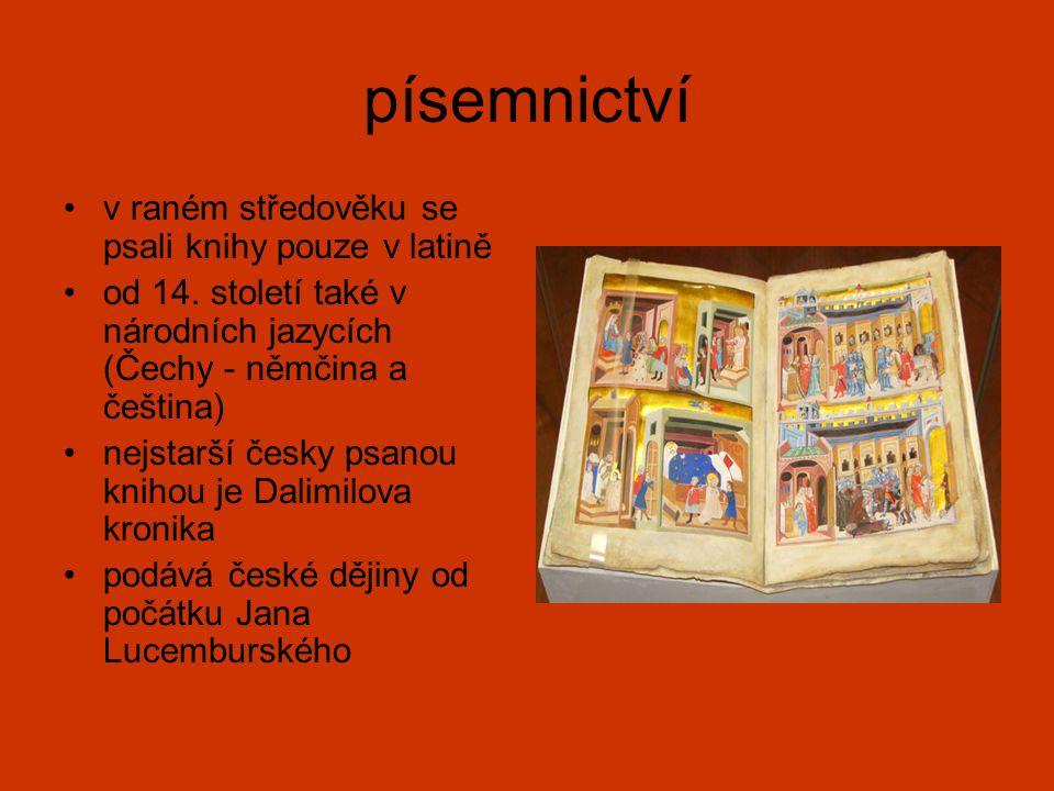 písemnictví v raném středověku se psali knihy pouze v latině od 14. století také v národních jazycích (Čechy - němčina a čeština) nejstarší česky psan