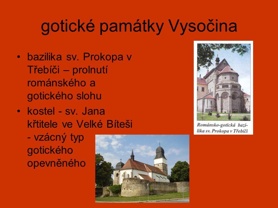 gotické památky Vysočina bazilika sv. Prokopa v Třebíči – prolnutí románského a gotického slohu kostel - sv. Jana křtitele ve Velké Bíteši - vzácný ty