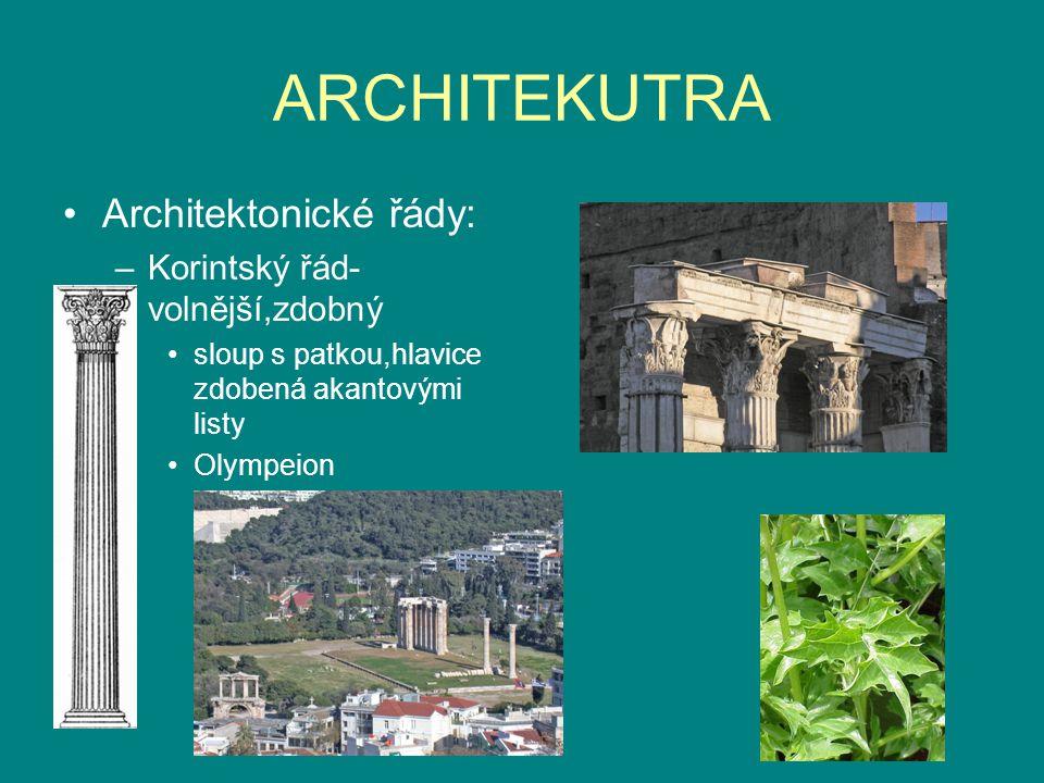 ARCHITEKUTRA Architektonické řády: –Korintský řád- volnější,zdobný sloup s patkou,hlavice zdobená akantovými listy Olympeion