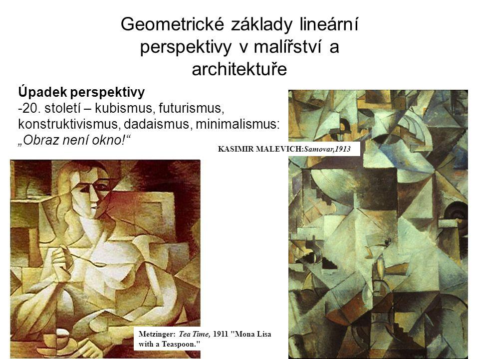Geometrické základy lineární perspektivy v malířství a architektuře Úpadek perspektivy -20. století – kubismus, futurismus, konstruktivismus, dadaismu