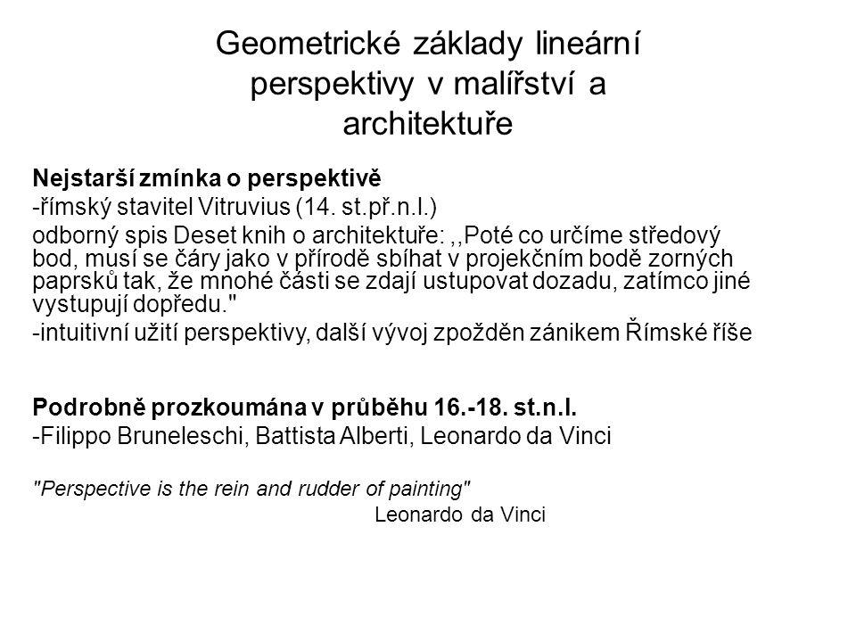 Geometrické základy lineární perspektivy v malířství a architektuře Nejstarší zmínka o perspektivě -římský stavitel Vitruvius (14. st.př.n.l.) odborný