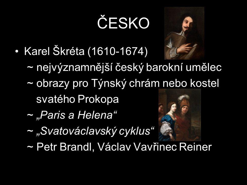 """ČESKO Karel Škréta (1610-1674) ~ nejvýznamnější český barokní umělec ~ obrazy pro Týnský chrám nebo kostel svatého Prokopa ~ """"Paris a Helena"""" ~ """"Svato"""