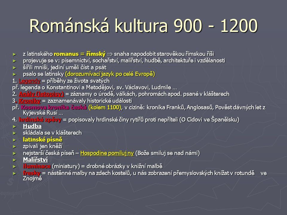 Románská kultura 900 - 1200 ► z latinského romanus = římský  snaha napodobit starověkou římskou říši ► projevuje se v: písemnictví, sochařství, malíř