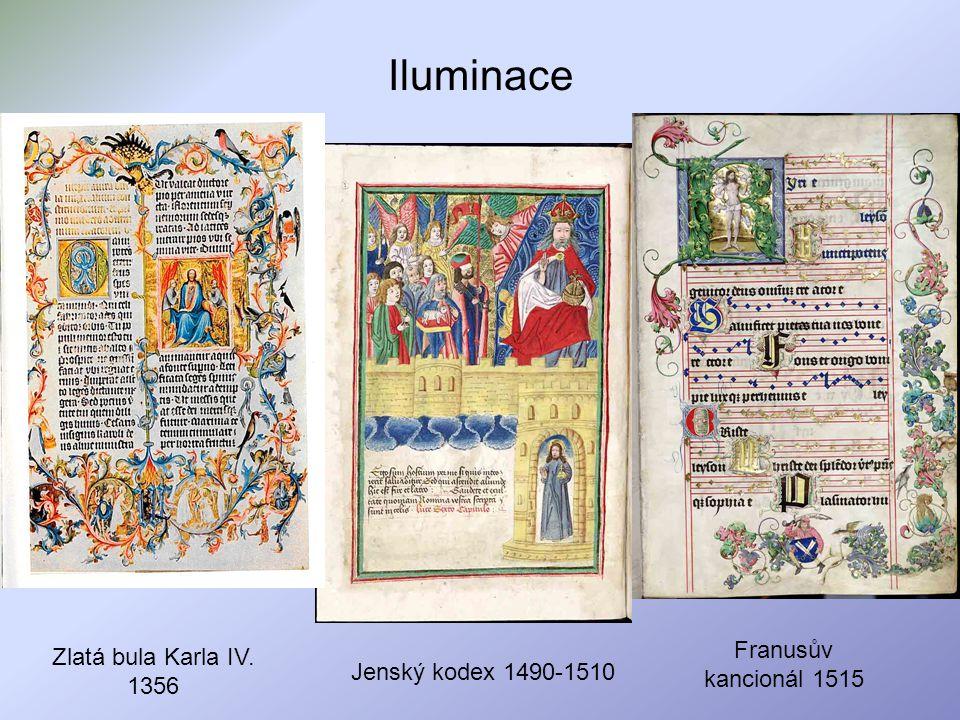 Iluminace Zlatá bula Karla IV. 1356 Franusův kancionál 1515 Jenský kodex 1490-1510