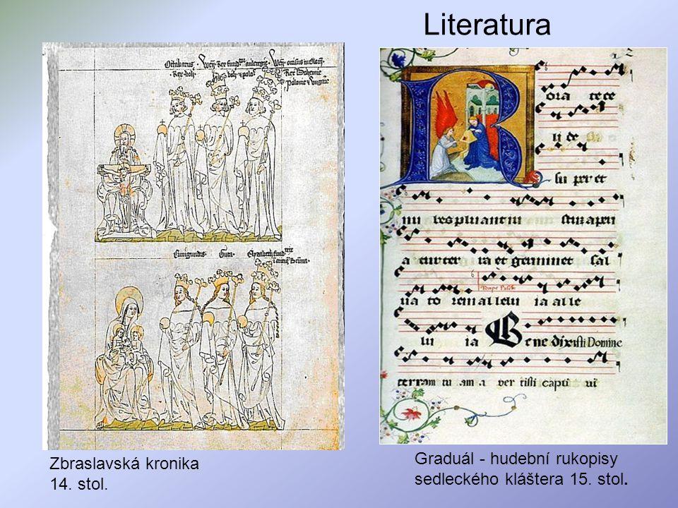 Literatura Zbraslavská kronika 14. stol. Graduál - hudební rukopisy sedleckého kláštera 15. stol.