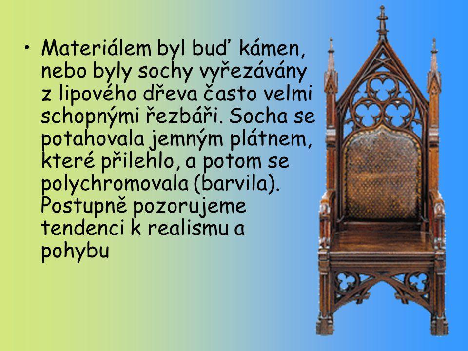 Materiálem byl buď kámen, nebo byly sochy vyřezávány z lipového dřeva často velmi schopnými řezbáři.
