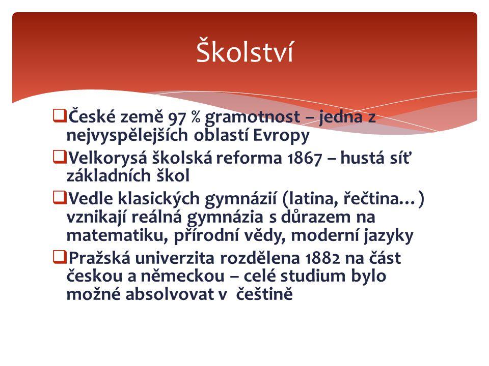  České země 97 % gramotnost – jedna z nejvyspělejších oblastí Evropy  Velkorysá školská reforma 1867 – hustá síť základních škol  Vedle klasických