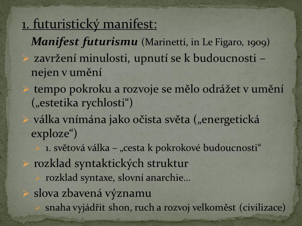 1. futuristický manifest: Manifest futurismu (Marinetti, in Le Figaro, 1909)  zavržení minulosti, upnutí se k budoucnosti – nejen v umění  tempo pok