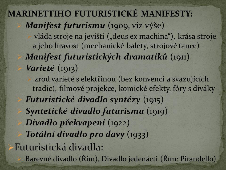 """MARINETTIHO FUTURISTICKÉ MANIFESTY:  Manifest futurismu (1909, viz výše)  vláda stroje na jevišti (""""deus ex machina""""), krása stroje a jeho hravost ("""