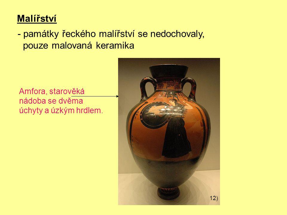 Malířství Amfora, starověká nádoba se dvěma úchyty a úzkým hrdlem.