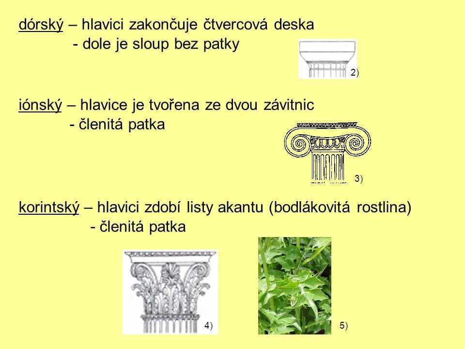 dórský – hlavici zakončuje čtvercová deska - dole je sloup bez patky iónský – hlavice je tvořena ze dvou závitnic - členitá patka korintský – hlavici zdobí listy akantu (bodlákovitá rostlina) - členitá patka 2) 3) 4)5)