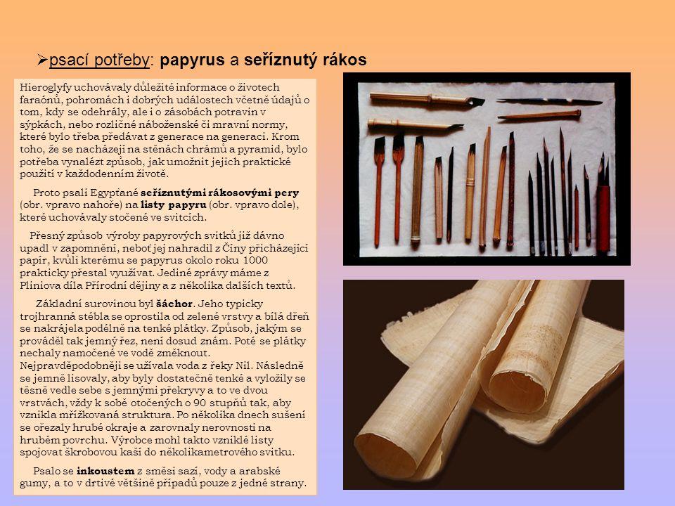  psací potřeby: papyrus a seříznutý rákos Hieroglyfy uchovávaly důležité informace o životech faraónů, pohromách i dobrých událostech včetně údajů o