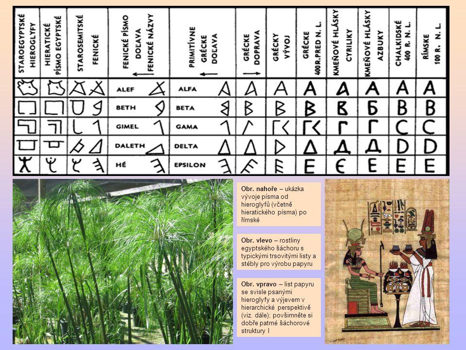 Obr. nahoře – ukázka vývoje písma od hieroglyfů (včetně hieratického písma) po římské Obr. vlevo – rostliny egyptského šáchoru s typickými trsovitými