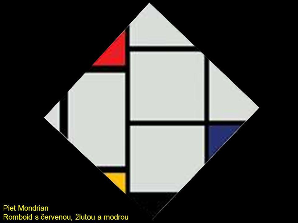 Piet Mondrian Romboid s červenou, žlutou a modrou