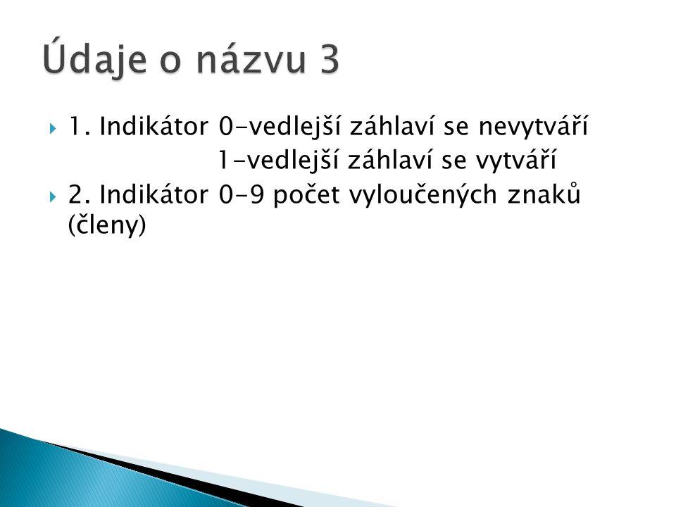  1.Indikátor 0-vedlejší záhlaví se nevytváří 1-vedlejší záhlaví se vytváří  2.