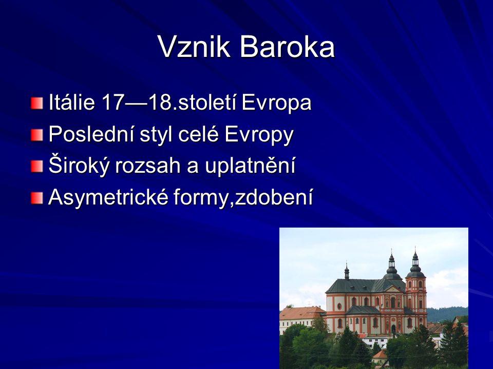 Vznik Baroka Itálie 17—18.století Evropa Poslední styl celé Evropy Široký rozsah a uplatnění Asymetrické formy,zdobení