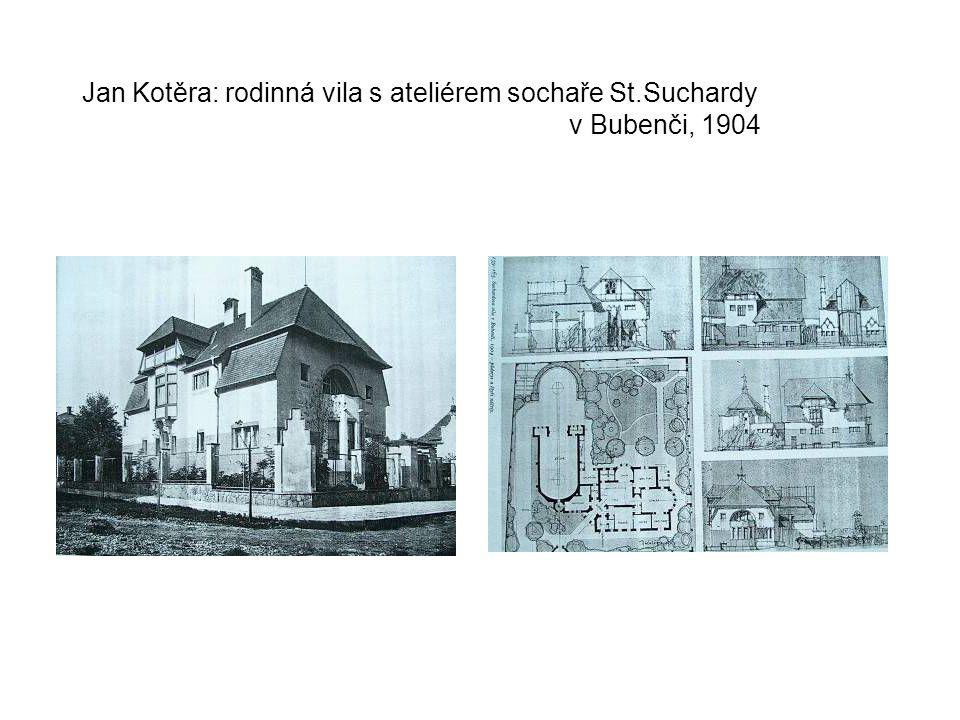 Jan Kotěra: rodinná vila s ateliérem sochaře St.Suchardy v Bubenči, 1904